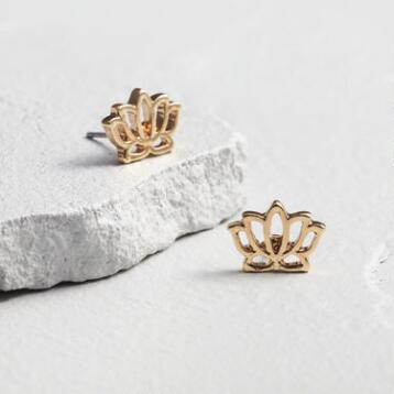 Gold Lotus Stud Earrings